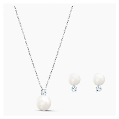 Zestaw Treasure Pearl, biały, powlekany rodem Swarovski