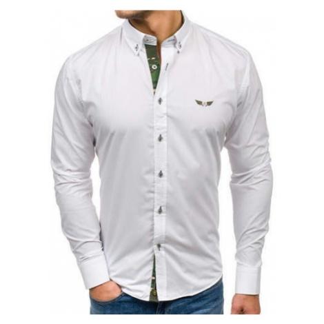 Koszula męska elegancka z długim rękawem moro-biała Bolf 6850