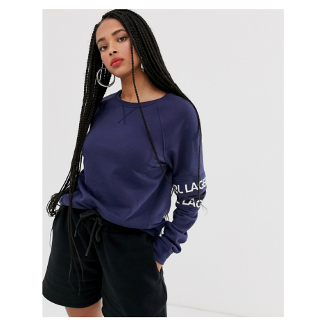 Karl Lagerfeld cut out sleeve sweat with logo