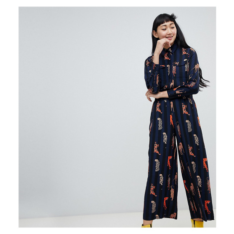 Monki stripe wide leg trousers with leopard placements in navy