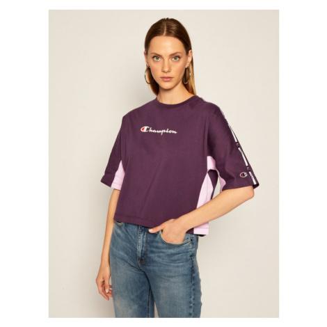 Champion T-Shirt Logo 113345 Fioletowy Oversize
