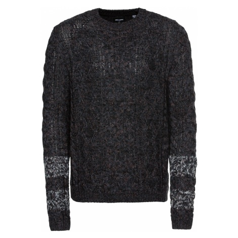 Only & Sons Sweter 'onsHEATH 3 STRIPED CABLE CREW NECK' ciemny niebieski