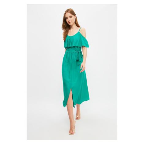 Trendyol Green Belted Ruffle Dress