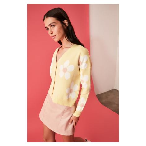 Trendyol Yellow Jacquard Knitwear Cardigan