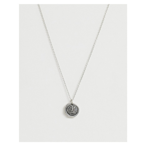 Icon Brand circle pendant necklace in silver
