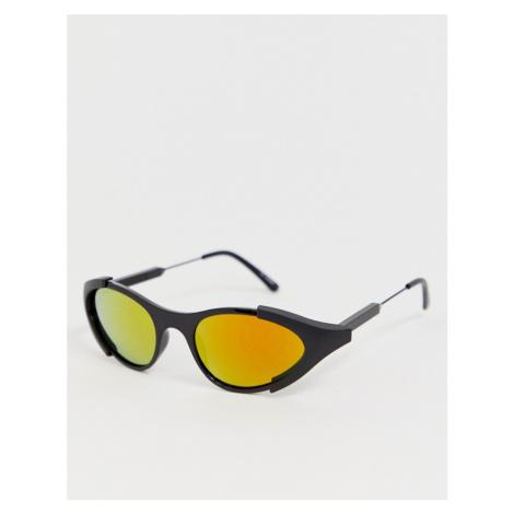 Spitfire wrap around round sunglasses in black