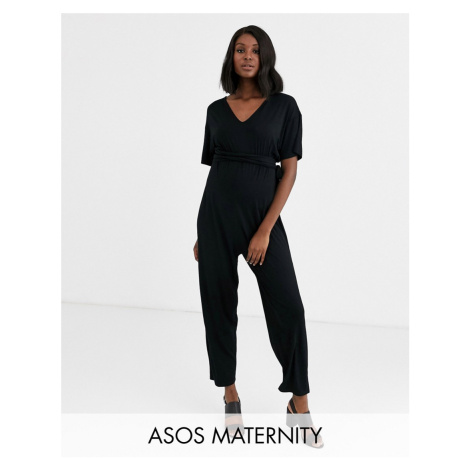 ASOS DESIGN Maternity belted jumpsuit with kimono sleeve