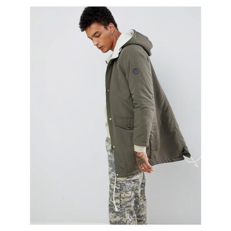 Criminal Damage parka jacket in khaki with borg hood