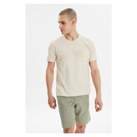 Bluza z krótkim rękawem Trendyol Beige Męskie