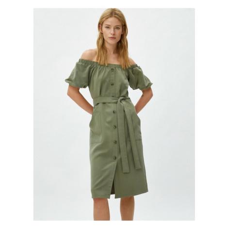 Koton Kobiet Zielony krótki rękaw z zapięciem na guziki Open Shoulder Dress