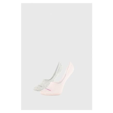2 PACK damskich skarpetek Calvin Klein Jessica szaro-różowe