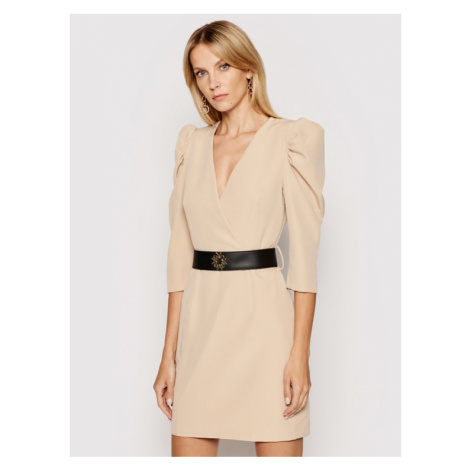 Rinascimento Sukienka koktajlowa CFC0101985003 Beżowy Slim Fit