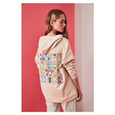 Trendyol Beige Bugs Bunny Licensed Front and Back Printed Oversize Knitted Sweatshirt