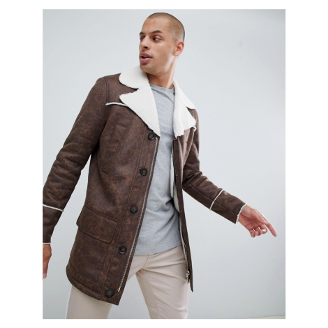 BoohooMAN faux suede coat with borg lining in brown