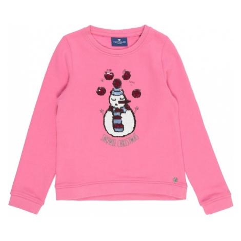 TOM TAILOR Bluzka sportowa 'sweatshirt placed print' różowy