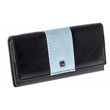 Czarny portfel damski z niebieskim modułem