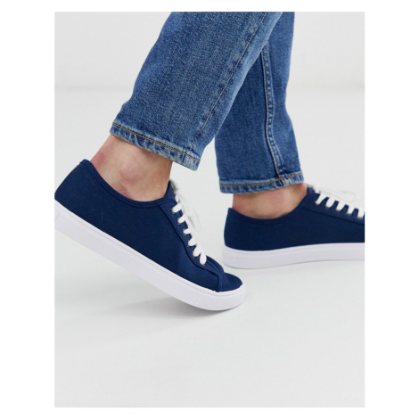 ASOS DESIGN trainers in navy canvas