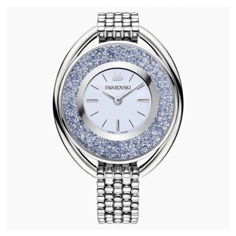 Crystalline Oval Watch, Metal bracelet, Blue, Silver tone Swarovski