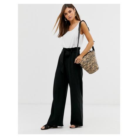 Vero Moda paperbag wide leg trousers in black