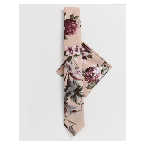 Twisted Tailor tie and pocket square set in metallic floral