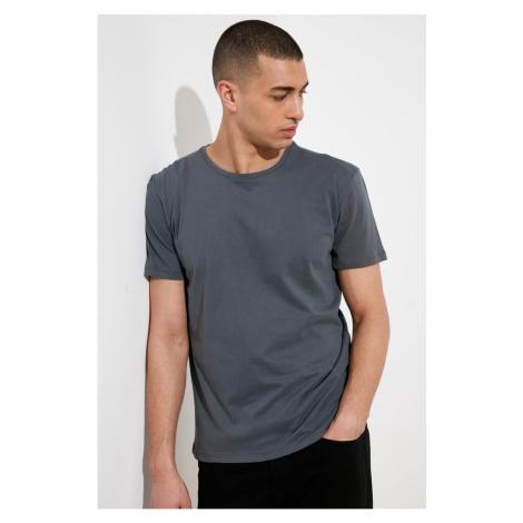 Modyol Antracyt Męskie paski z nadrukiem krótki rękaw T-shirt Trendyol
