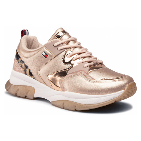 Sneakersy TOMMY HILFIGER - Low Cut Lace-Up Sneaker T3A4-30825-0489 S Rose Gold/Beige X938