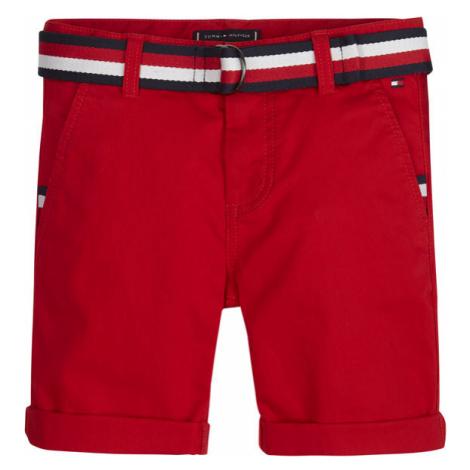 TOMMY HILFIGER Szorty materiałowe Essential Belted Chino KB0KB05603 M Czerwony Slim Fit