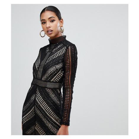 Boohoo high neck crochet panel bodycon dress in black