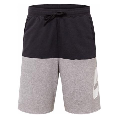 Nike Sportswear Spodnie 'Alumni' biały / czarny / nakrapiany szary