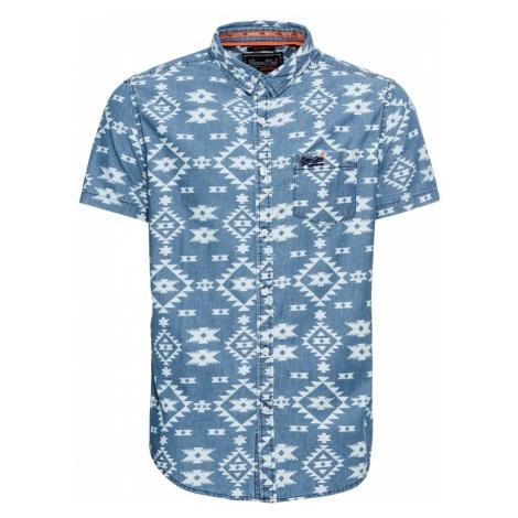 Superdry Koszula 'Miami' podpalany niebieski / biały