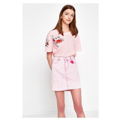 Koton Damska różowa normalna talia wąska spódnica