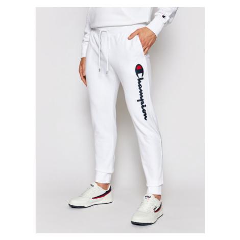 Champion Spodnie dresowe Satin Script Logo 214190 Biały Regular Fit