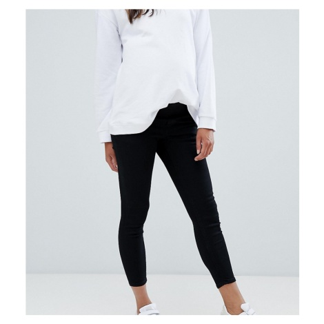 ASOS DESIGN Maternity Petite Ridley high waisted skinny jeans in clean black with under the bump