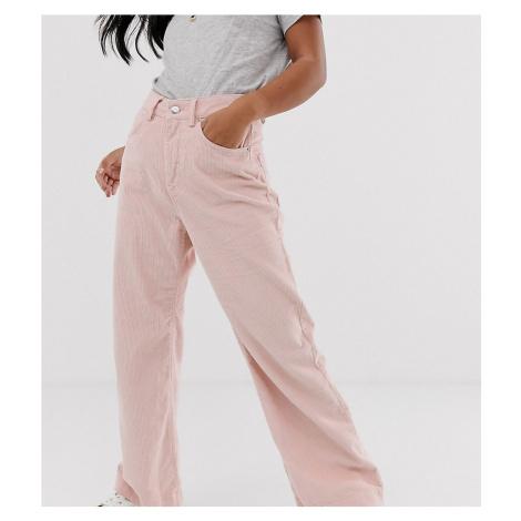 Vero Moda Petite wide leg cord trousers in pink