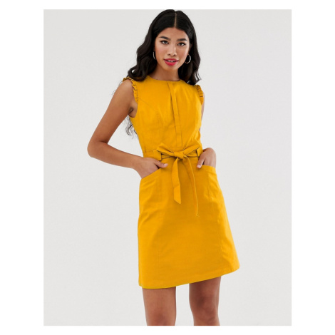 Oasis textured shift dress with belt in yellow