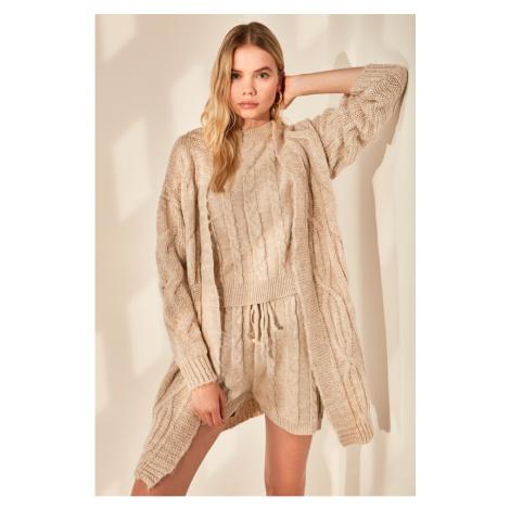 Trendyol Stone Mesh Detailed Knitwear Cardigan