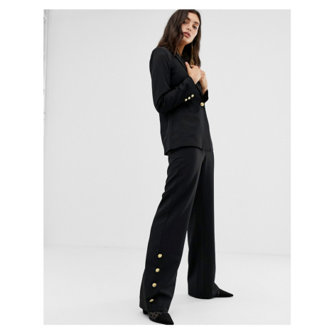 Unique21 tailored high rise trouser with gold buttons