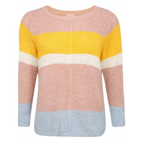 ONLY Carmakoma Sweter 'CARMACY' stary róż / biały / jasnoniebieski / żółty