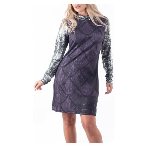 Culito from Spain ciemna sukienka Labrado z rękawami metalicznymi