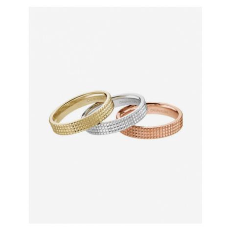 Calvin Klein Rock Pierścień 3 szt Różowy Złoty Srebrny