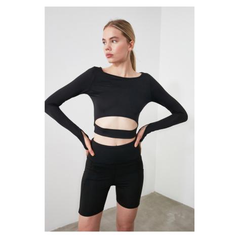 Bluzka sportowa Trendyol Crop z czarnymi detalami w talii