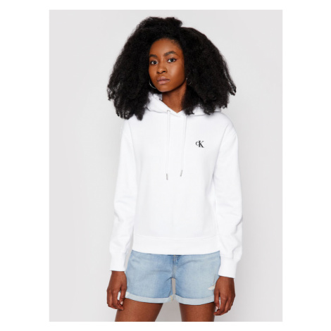 Calvin Klein Jeans Bluza Embroidered Logo J20J213178 Biały Regular Fit