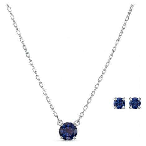 Swarovski Zestaw biżuterii 'Attract Round' szafir / srebrny