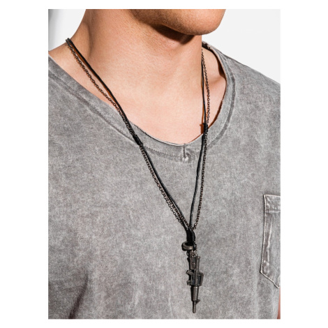 Ombre Clothing Men's necklace on the leather strap A362