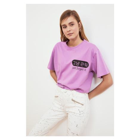 Trendyol Lila drukowane chłopak dzianiny t-shirt