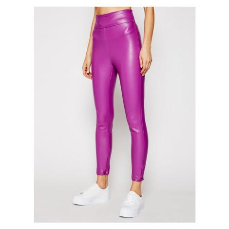 Guess Spodnie skórzane Priscilla W1RB25 WBG60 Fioletowy Slim Fit