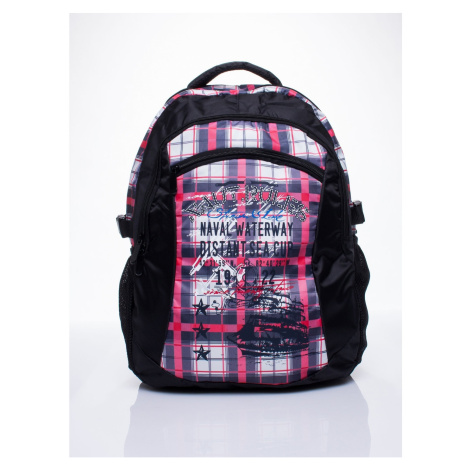 Black checked backpack for a boy