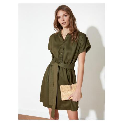Trendyol khaki koszulowa sukienka