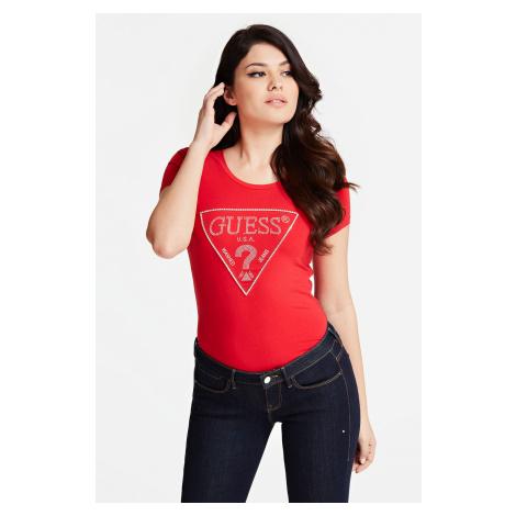 Guess czerwona koszulka Triangle Logo T-shirt