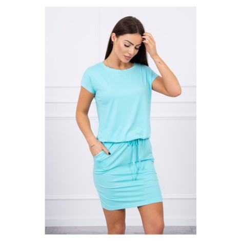 Viscose dress tied at the waist with short sleeves mint